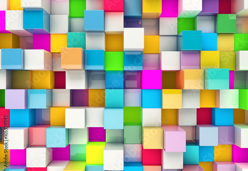 Fototapeta na wymiar Abstract background of multi-colored cubes