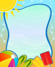 Summer Blank Sign - Colorful Aquatic Blank Sign With Beach Ball, Flip Flops And Popsicle. Eps10