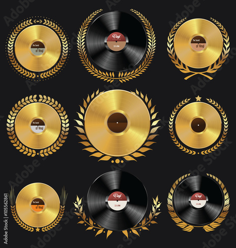 Vinyl record shop badges collection - Buy this stock vector