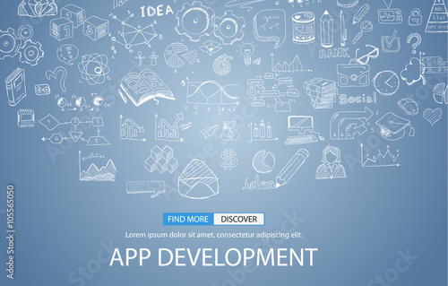 Fotografía  App Development Concept Background with Doodle design style :user interfaces,