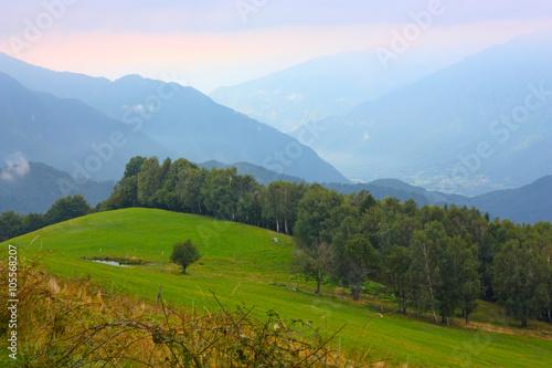 Fotobehang Rijstvelden Beautiful mountains - landscape taken in Julian Alps, Slovenia
