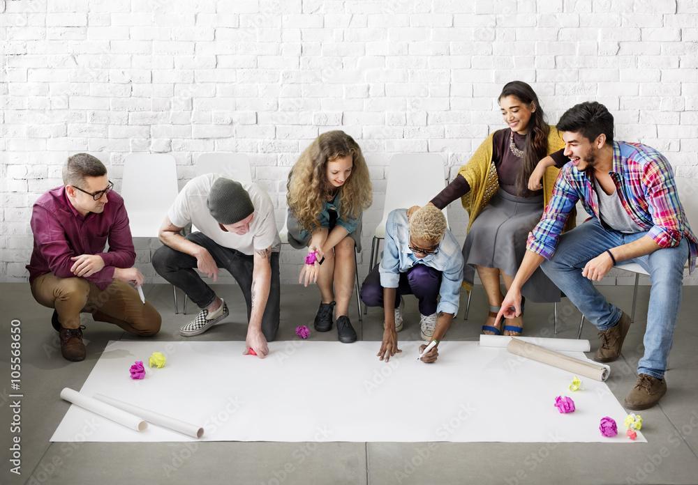 Fototapety, obrazy: Design Students Team Designing Start up Concept