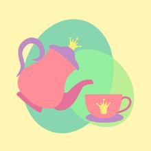 Cute Princess Tea Cup And Teapot Set With Royal Decoration
