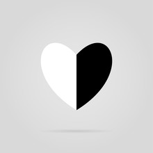 Black White Heart In Two, Vector