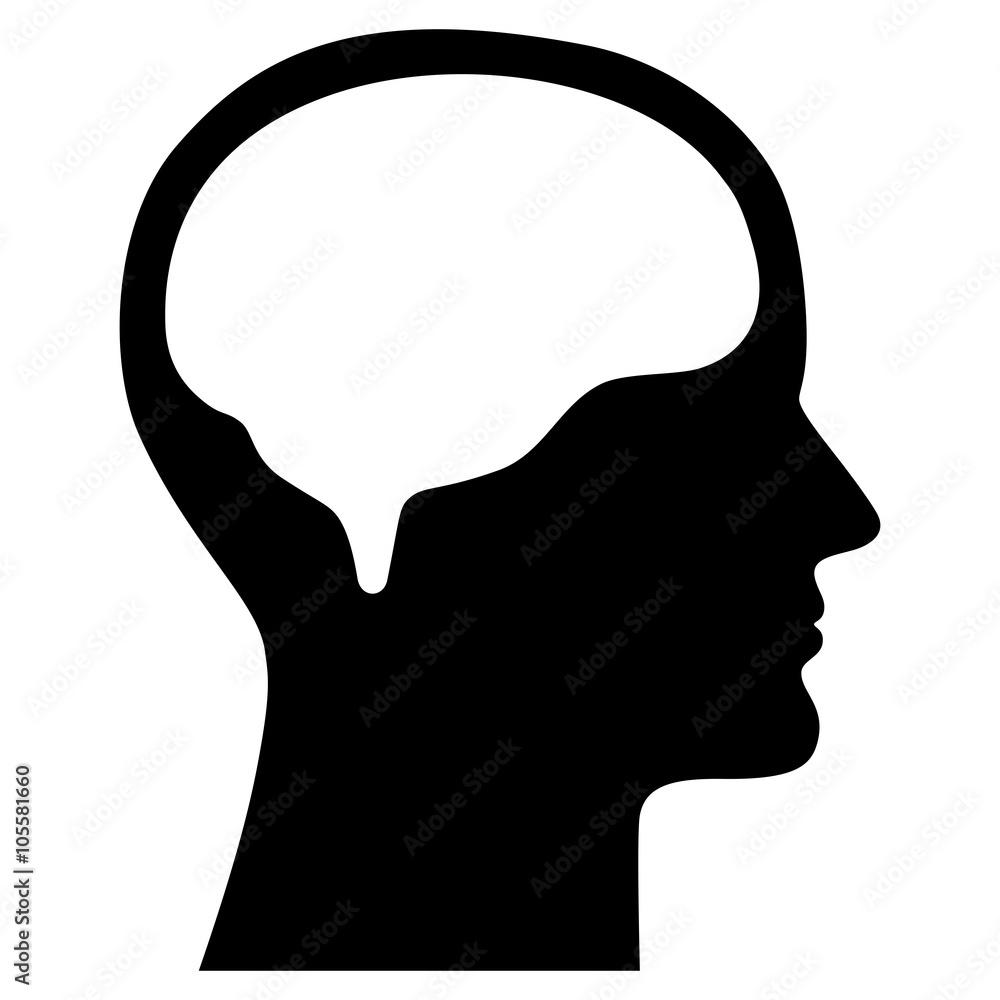 Photo & Art Print Menschliches Gesicht im Profil mit Gehirn ...