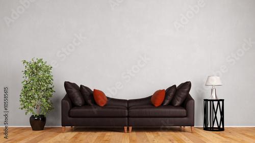 Couch aus Leder vor Wand im Wohnzimmer – kaufen Sie diese ...