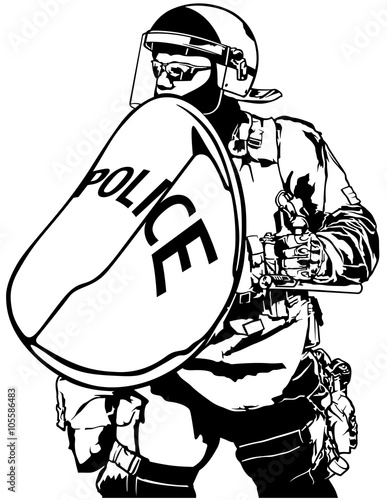 Fotografia  Police Heavy Armor with Shield - Black and White Illustration, Vector