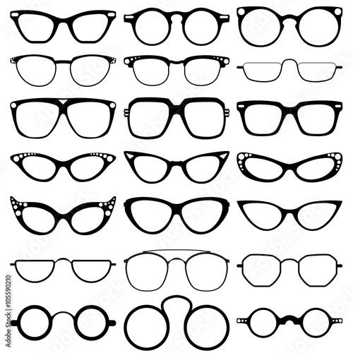 Glasses model icons, man, women frames. Sunglasses, eyeglasses ...