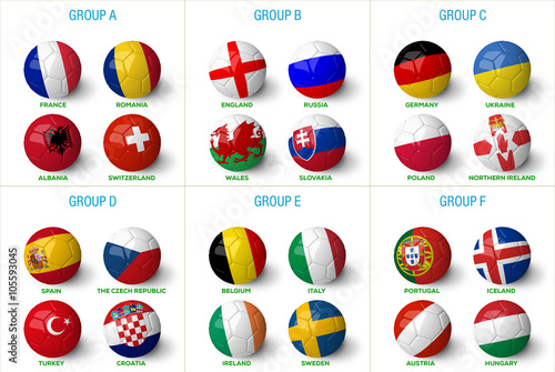 Soccer balls with country flag isolated on the white background. Wallpaper Mural