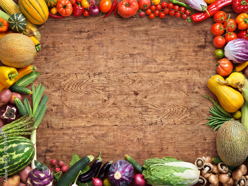 Healthy Food Background Studio Photography Of Different Fruits And Vegetables On Rustic Wooden Table High Resolution Product Buy This Stock Photo And Explore Similar Images At Adobe Stock Adobe Stock