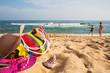Women's beach accessories on a tropical shore