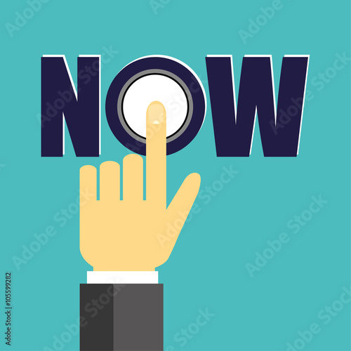 Photo Businessman hand with the finger pressing a button in the letter O of the word N