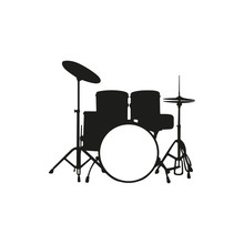 Vector Illustration Of Silhouette The Drum Set On White Background