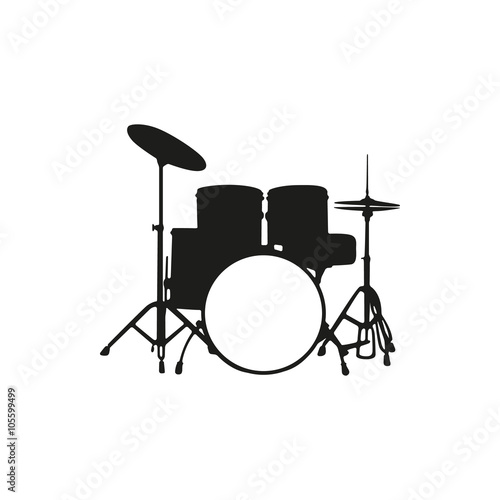 Canvas Print Vector illustration of silhouette the drum set on white background