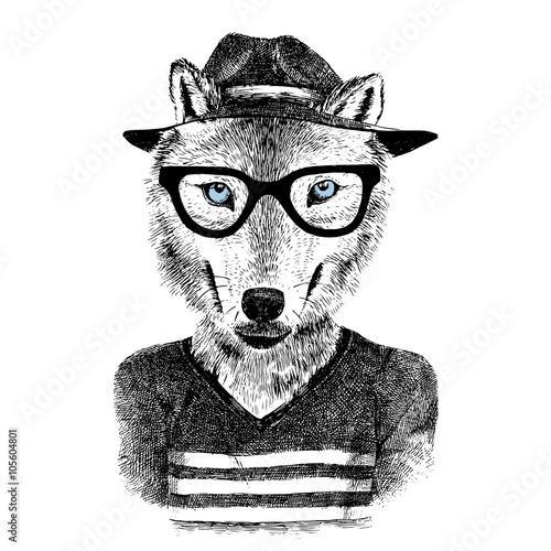 Dressed up wolf - 105604801
