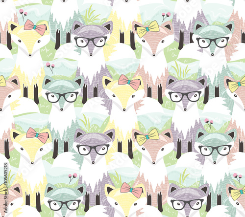 Cotton fabric Cute little fox seamless pattern. Background with animals for ch