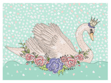 Cute Swan With Crown And Flowers. Fairytale Background For Kids