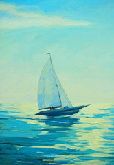 Fototapetayacht with sail at the morning mediterranean seaside, painting
