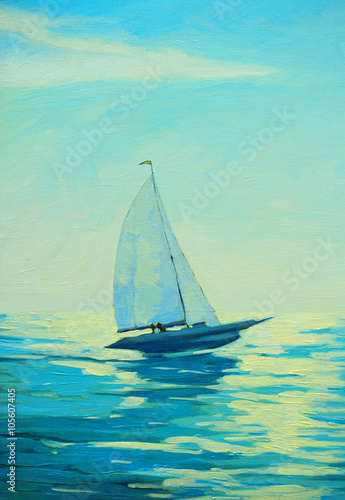 yacht with sail at the morning mediterranean seaside, painting - 105607405
