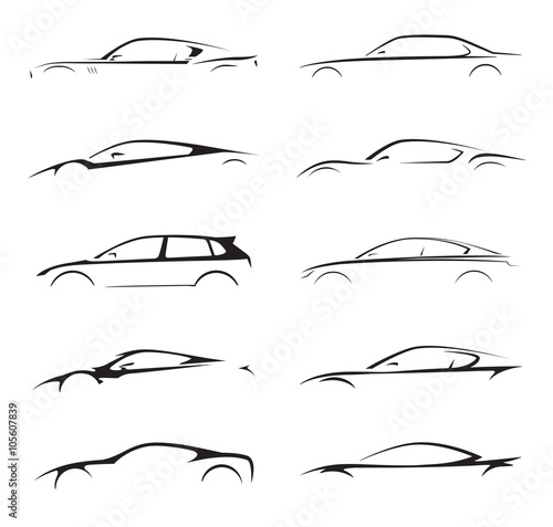 Fotografia Concept supercar, sports car and sedan motor vehicle silhouette collection set on white background