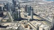 Dubai Downtown Aerial View With City Traffic