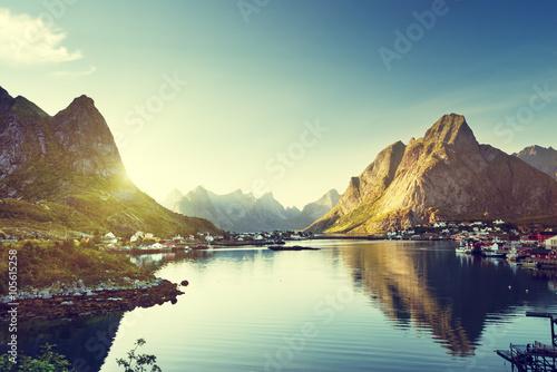 Poster Aurore polaire Reine Village, Lofoten Islands, Norway