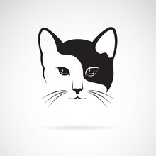 Vector Of A Cat Face Design On White Background. Pets, Animals.
