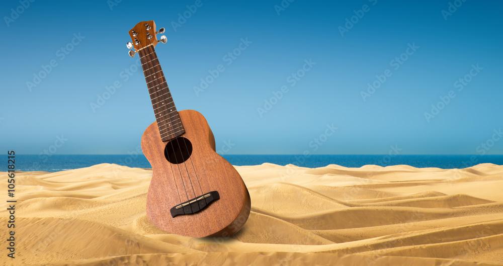 Fotografie, Obraz ukulele sulla spiaggia