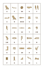 Set Of Egyptian Hieroglyphics Alphabet With Latin Letters On White