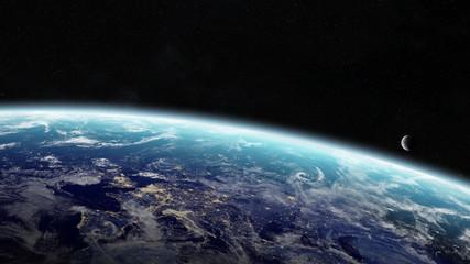 Fototapeta Sunrise over planet Earth in space