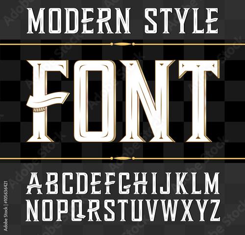 Fotografía  Vector label font, modern style.  Whiskey label style.