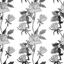 Seamless Abstract Monochrome Black White Roses Pattern Backgroun