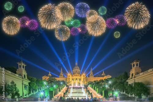 Beautiful fireworks under Magic Fountain in Barcelona Canvas Print
