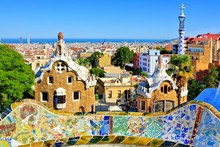 View Over Antoni Gaudi's Artistic Park Guell In Barcelona, Spain