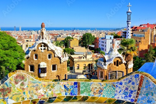 Papiers peints Barcelona View over Antoni Gaudi's artistic Park Guell in Barcelona, Spain