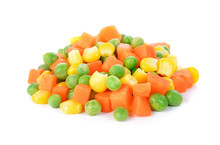 Mix Of Vegetable Containing Carrots, Peas, And Corn On White Bac