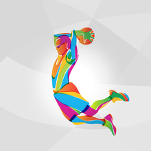 Color Illustration Of Basketball Player, Vector