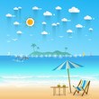 Idyllic paradise coast landscape with mountains. Summer camp vacation concept in flat style design .Vector illustration