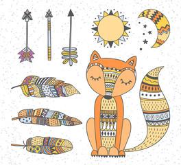 Panel Szklany Boho Hand drawn boho style totem fox, feathers, arrows, sun and moon design elements