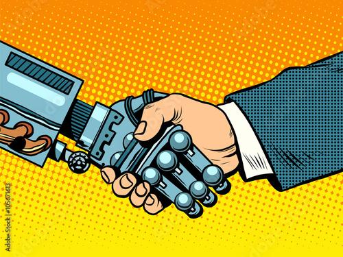 Foto  Handshake of robot and man. New technologies evolution