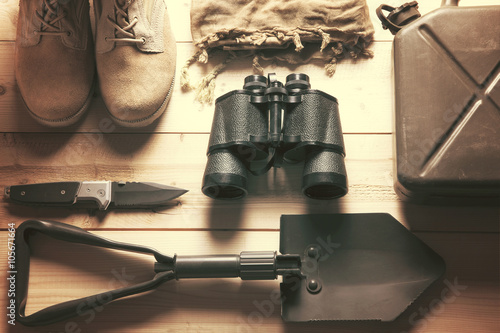 Fotografie, Obraz overhead of survival kit / equipment to get by in any adventure
