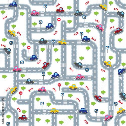 drogowy-bezszwowy-wzor-z-smiesznymi-samochodami