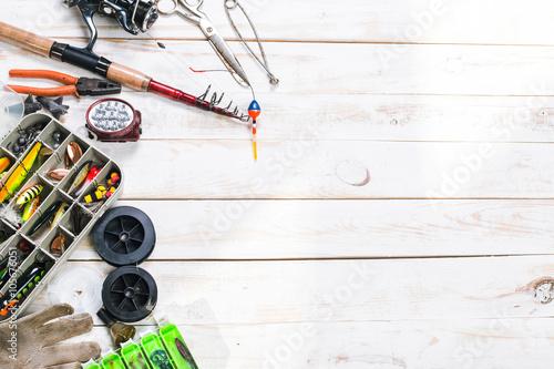 Fotografie, Obraz  Various fisherman's equipment on wooden background