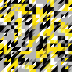 Panel Szklany Abstrakcja Triangle geometric shapes pattern. black and yellow