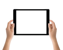 Hand Holding Black Tablet Isolated On White Clipping Path Inside