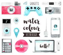 Media Devices Watercolor Vecto...