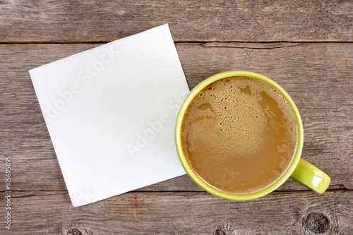Fotografie, Obraz  Cup of coffee and blank napkin