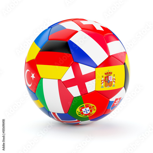 Soccer football ball with Europe countries flags Poster