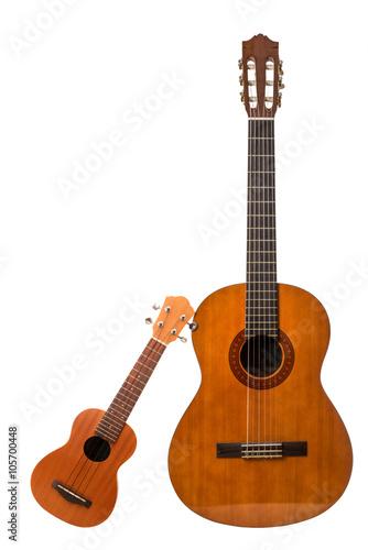 Fotografie, Obraz chitarra ed ukulele in fondo bianco