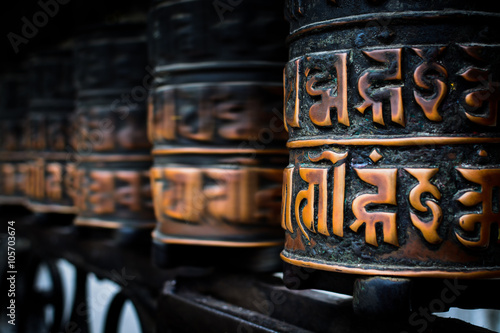Fotografering Nepalese Buddhist prayer rolls